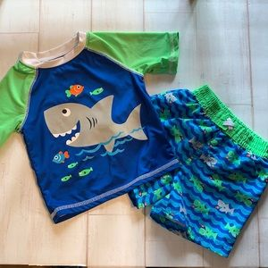 Healthtex Swimset Trunks and Spandex Top EUC 3-6M